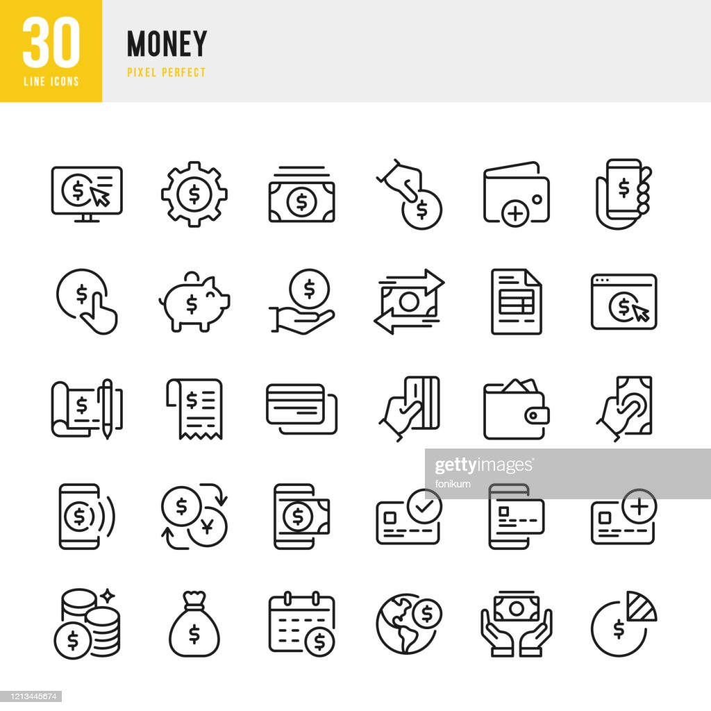 Money - thin line vector icon set. Pixel perfect. The set contains icons: Credit Card, Money Bag, Mobile Payment, Coins, Piggy Bank. : stock illustration