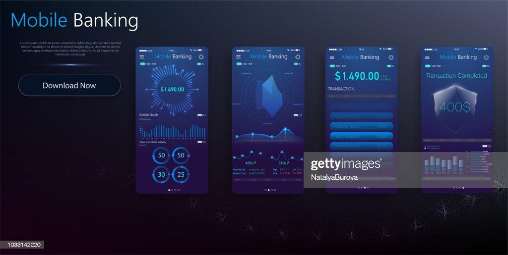 Money transaction, business, mobile banking and mobile payment. Vector illustration. Balance Detail UI Screens
