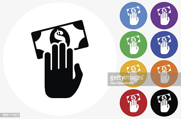 Money Transaction Icon on Flat Color Circle Buttons