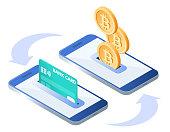 Money transfer process. Isometric illustration of phones, credit card, bitcoins.
