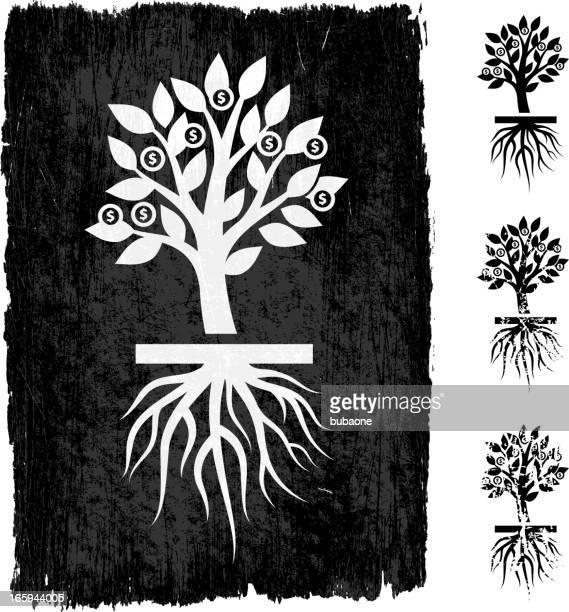 money tree black royalty free vector background - money tree stock illustrations, clip art, cartoons, & icons