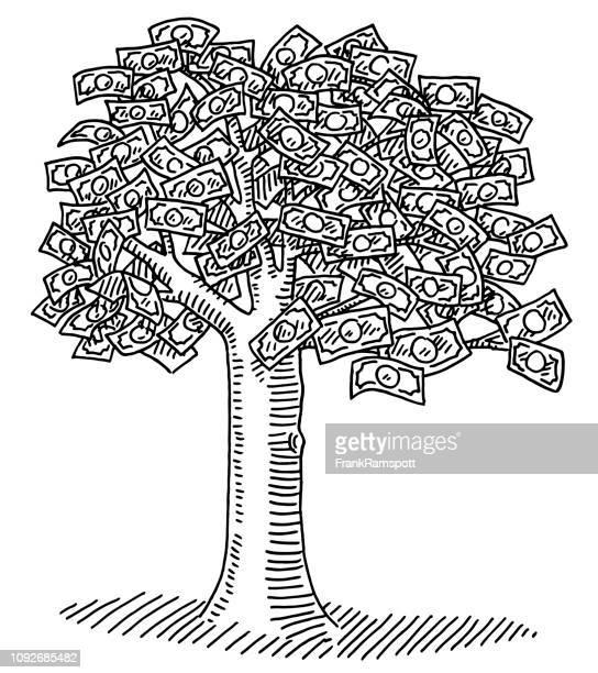 Geld Baum voller Banknoten Zeichnung