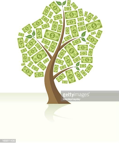 money tree full of dollars - money tree stock illustrations, clip art, cartoons, & icons