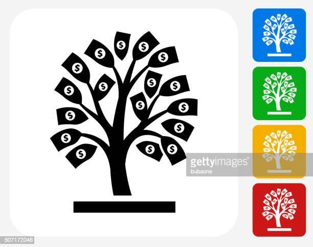money tree icon flat graphic design - money tree stock illustrations, clip art, cartoons, & icons