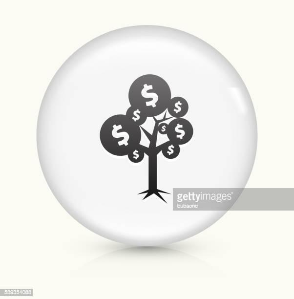 money tree icon on white round vector button - money tree stock illustrations, clip art, cartoons, & icons