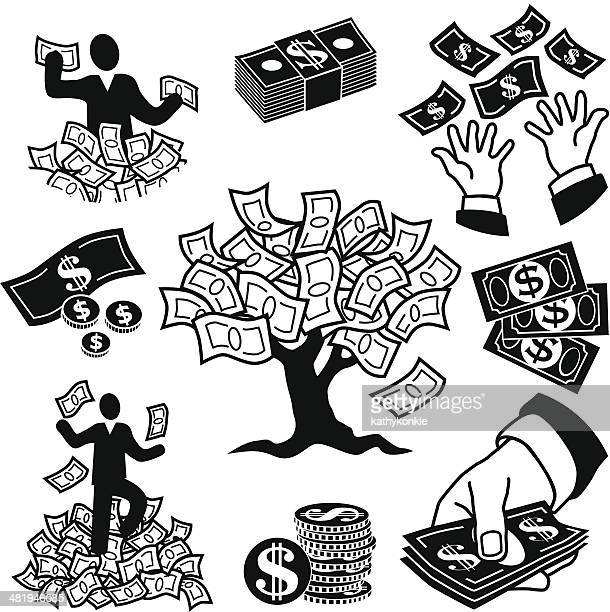 money tree icons - american one dollar bill stock illustrations, clip art, cartoons, & icons