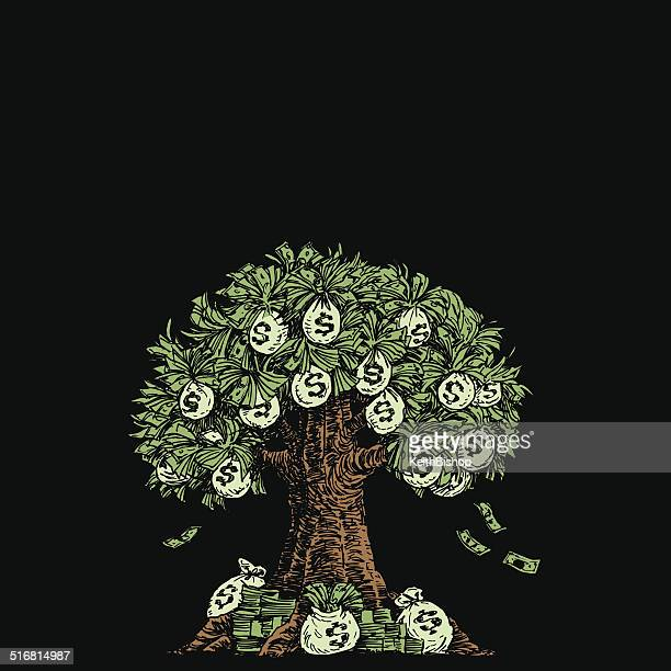 money tree - american one dollar bill stock illustrations, clip art, cartoons, & icons