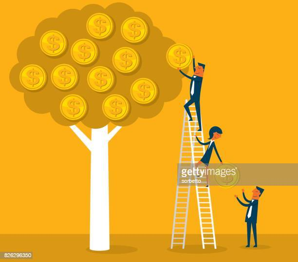 Money tree with business person