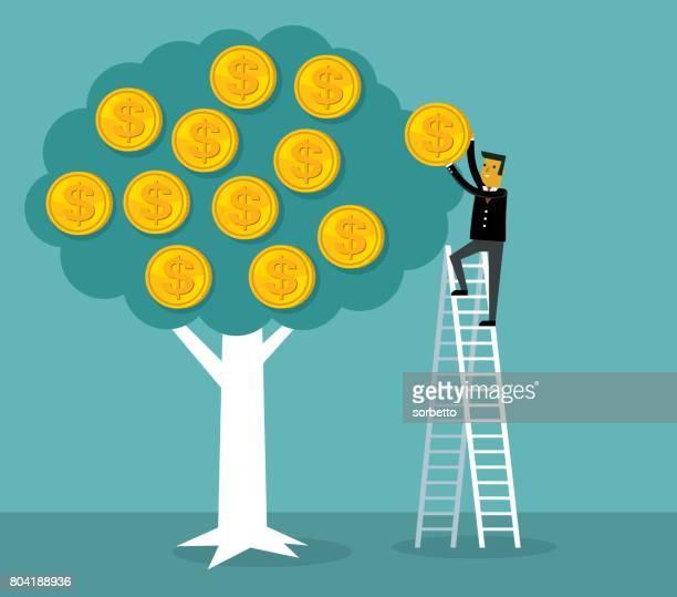 money tree with businessman - money tree stock illustrations, clip art, cartoons, & icons