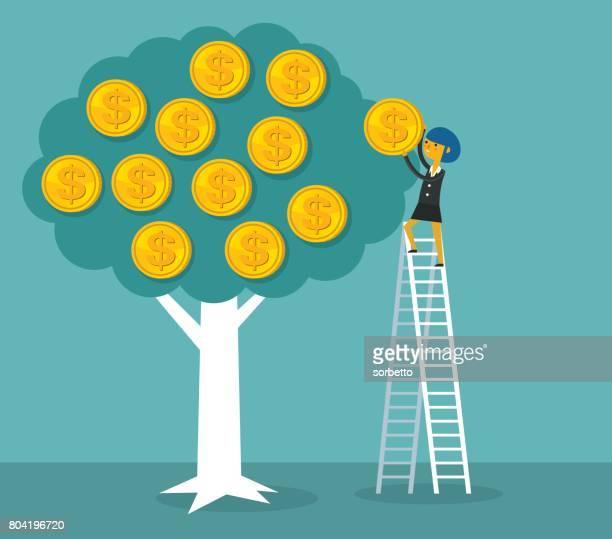 money tree with businesswoman - money tree stock illustrations, clip art, cartoons, & icons