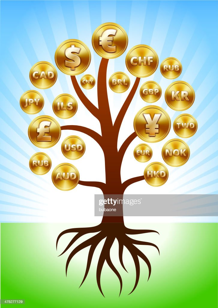 Money Tree With International Coins Vector Art Getty Images
