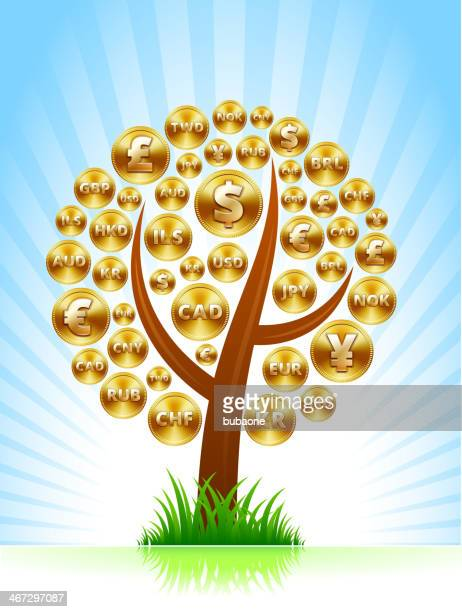 money tree with international gold coins - millionnaire stock illustrations, clip art, cartoons, & icons