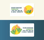 5ad24cc91e3 ... Money vector business card with stack of dollar or currency cash in  hands and monetary in ...