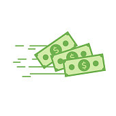 Money vector icon. Bank note. Dollar bill flying from sender to receiver. Design illustration for money, wealth, investment, banking and finance concepts.