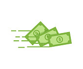 Money vector icon. Bank note Dollar bill flying from sender to receiver. Design illustration for money, wealth, investment and finance concepts