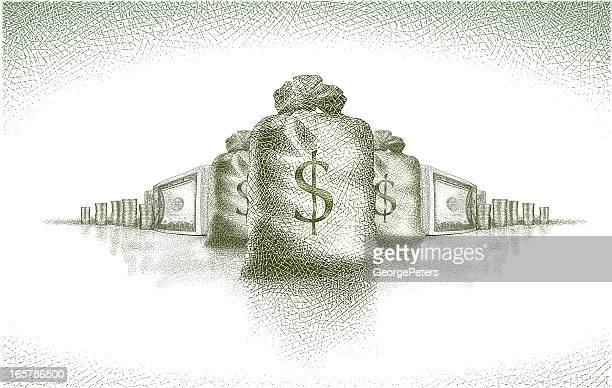 money! - us paper currency stock illustrations, clip art, cartoons, & icons