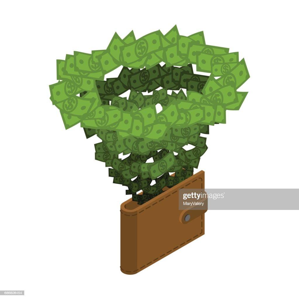 Money vortex. Hurricane cash. financial cycle. Tornado of dollars