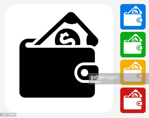 money wallet icon flat graphic design - wallet stock illustrations