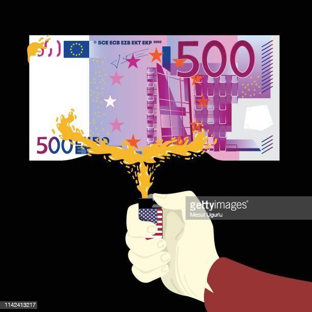 money wars - european union euro note stock illustrations, clip art, cartoons, & icons