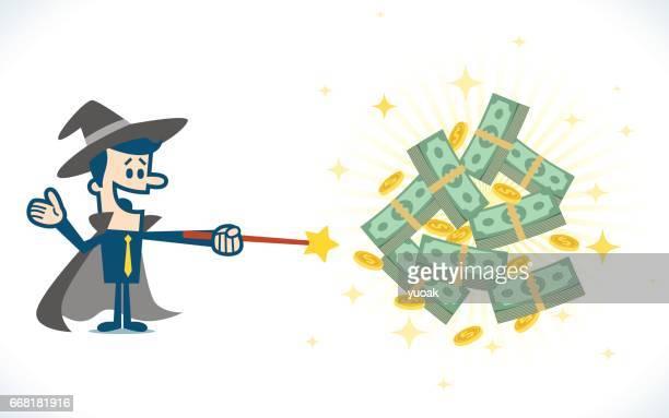 ilustraciones, imágenes clip art, dibujos animados e iconos de stock de asistente de dinero - fajo de billetes