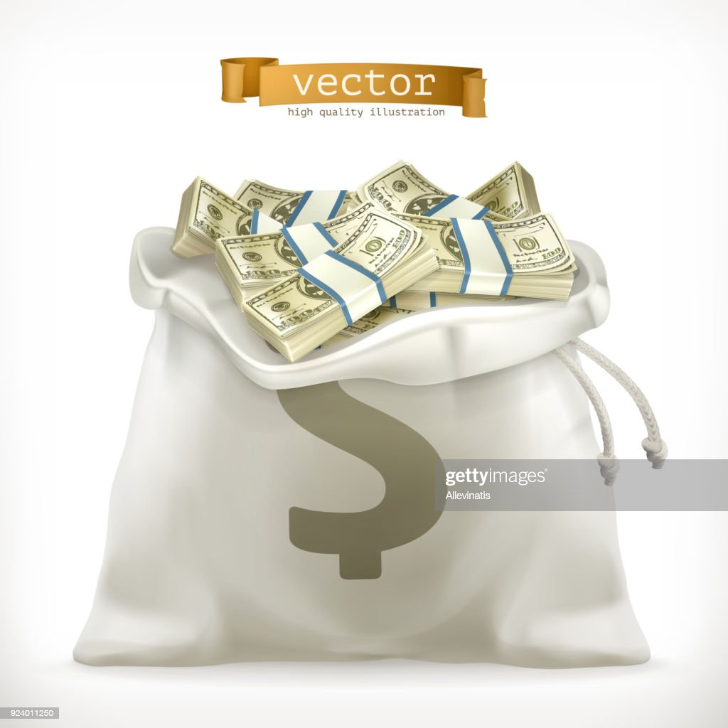 Moneybag. Paper money 3d vector icon