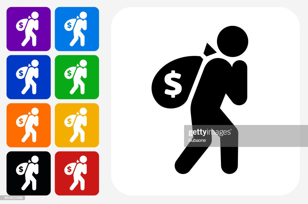Moneybags Icon Square Button Set