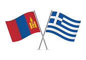 Mongolia and Greece flags. Vector illustration.