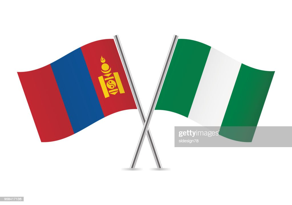 Mongolia and Nigeria flags. Vector illustration.
