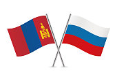 Mongolia and Russia flags. Vector illustration.