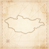 Mongolia map in retro vintage style - old textured paper