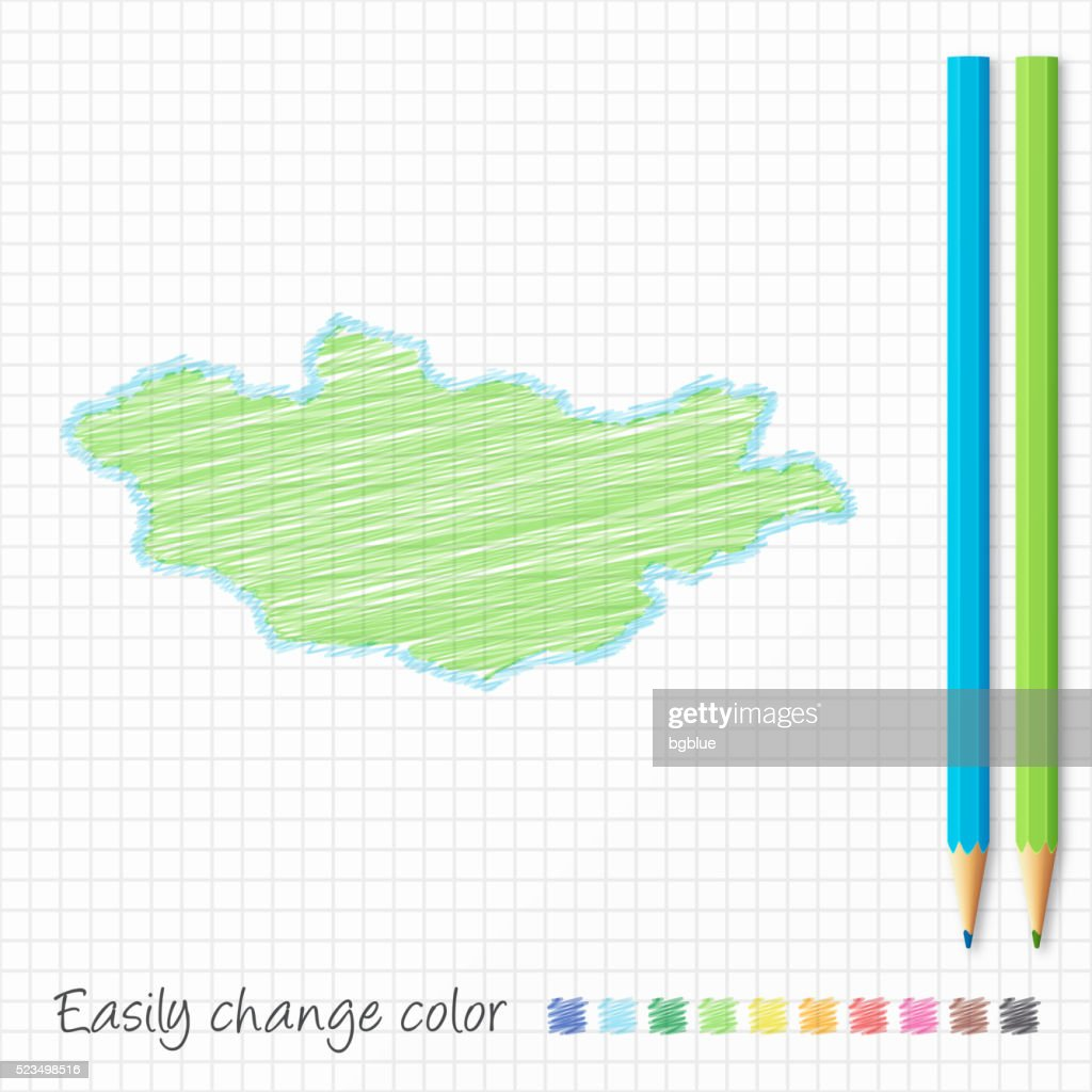 Mongolia Map Sketch With Color Pencils On Grid Paper Vector Art - Mongolia map vector