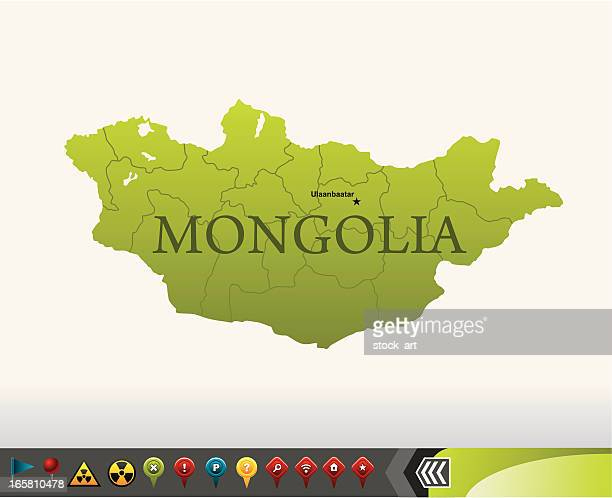 Mongolia map with navigation icons