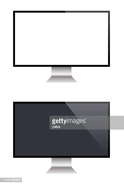 pc monitor and flat screen tv, realistic vector illustration - projection screen stock illustrations