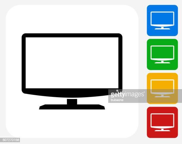 Monitor Icon Flat Graphic Design