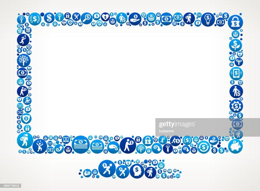 Monitorhintergrund Geld blaues Symbol Muster : Stock-Illustration