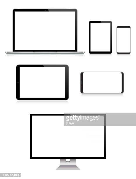 pc monitor, tv, laptop, tablet, smartphone, mobile phone in black and silver color with reflection, realistic vector illustration - wide screen stock illustrations