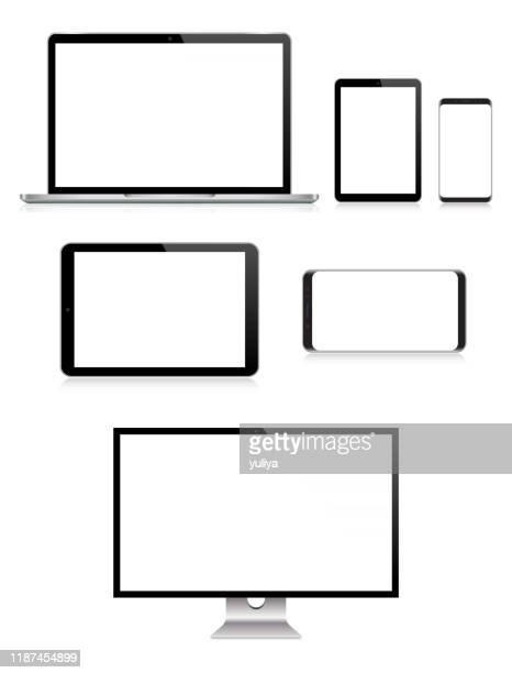 pc-monitor, tv, laptop, tablet, smartphone, handy in schwarz und silber farbe mit reflexion, realistische vektor-illustration - vertikal stock-grafiken, -clipart, -cartoons und -symbole