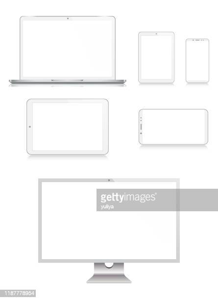 pc monitor, tv, laptop, tablet, smartphone, mobile phone in silver color with reflection, realistic vector illustration - wide screen stock illustrations