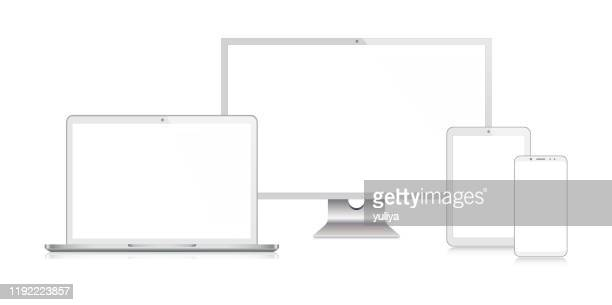 pc monitor, tv, laptop, tablet, smartphone, mobile phone in silver color with reflection, realistic vector illustration - high definition television television set stock illustrations