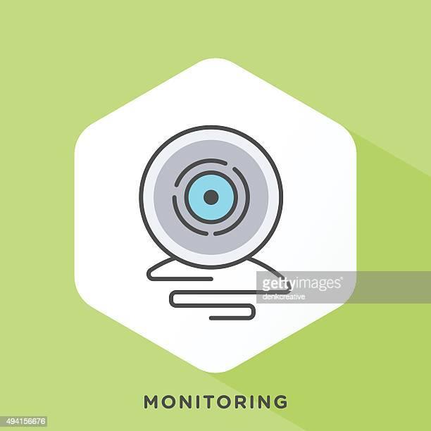 monitoring icon - webcam media apparaat stock illustrations