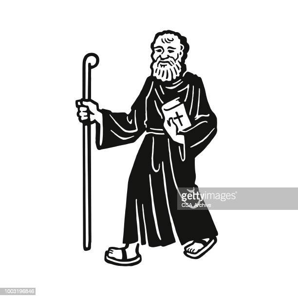 Monk Walking with a Stick