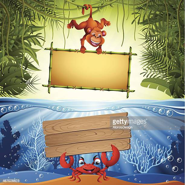 Monkey and Crab with signs