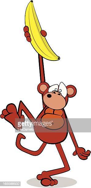 affen und riesige bananen- comic - chimpanzee stock-grafiken, -clipart, -cartoons und -symbole