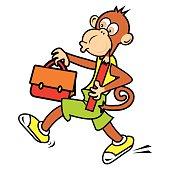 monkey and schoolback