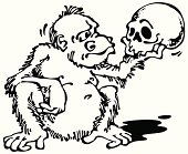 Monkey and Skull_Black