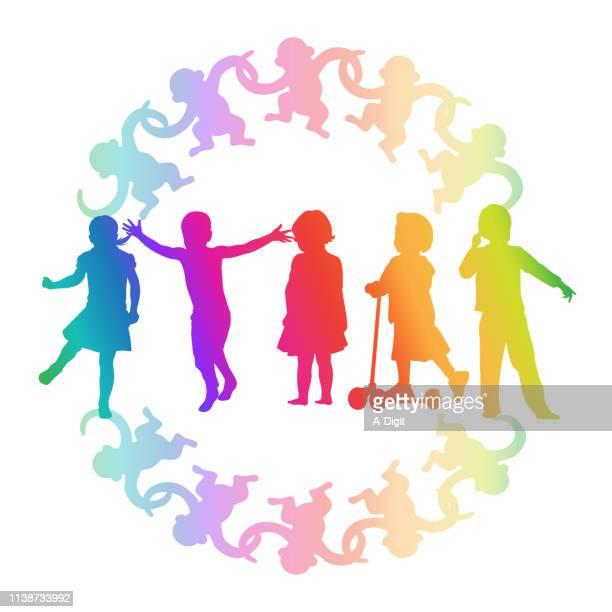 monkey around scooter rainbow - child care stock illustrations