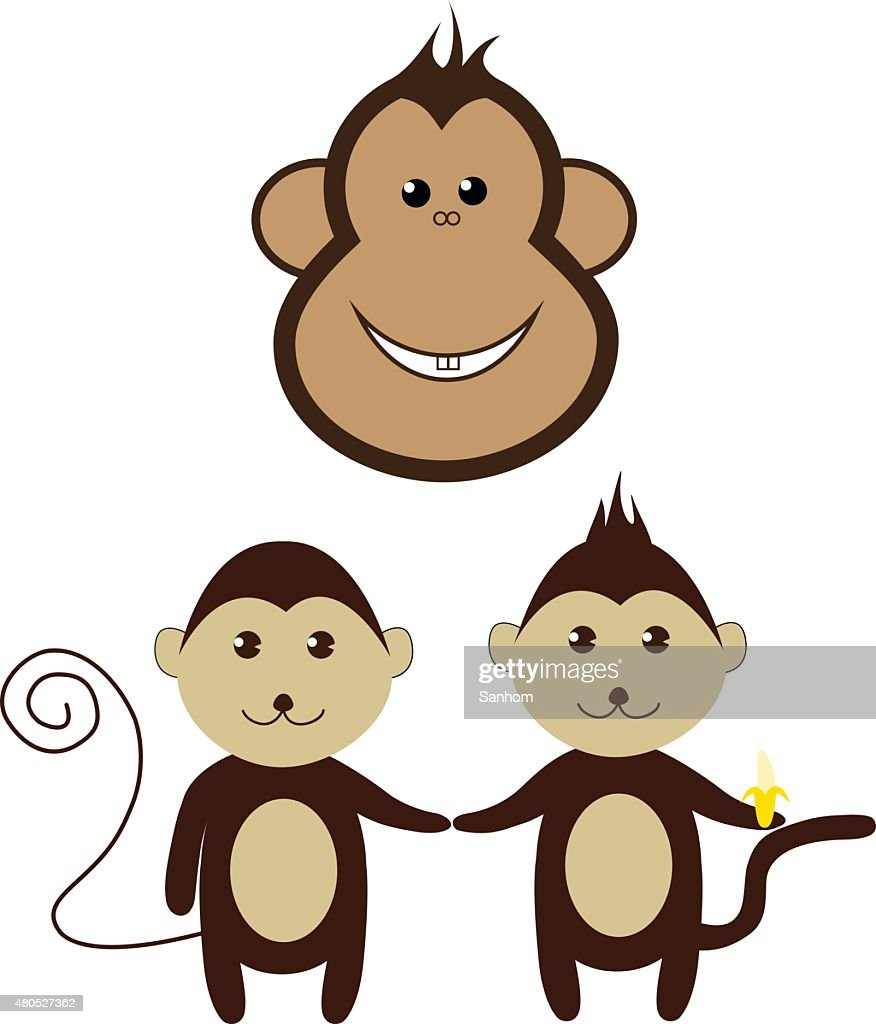 Scimmia Fumetto design set vettoriale amico sorriso : Arte vettoriale