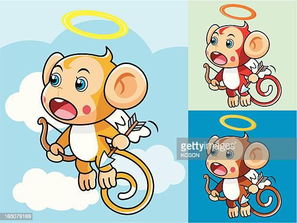 illustrations, cliparts, dessins animés et icônes de singe en dessin animé - cupidon humour