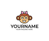 Monkey design. Funny ape vector design. Animal illustration