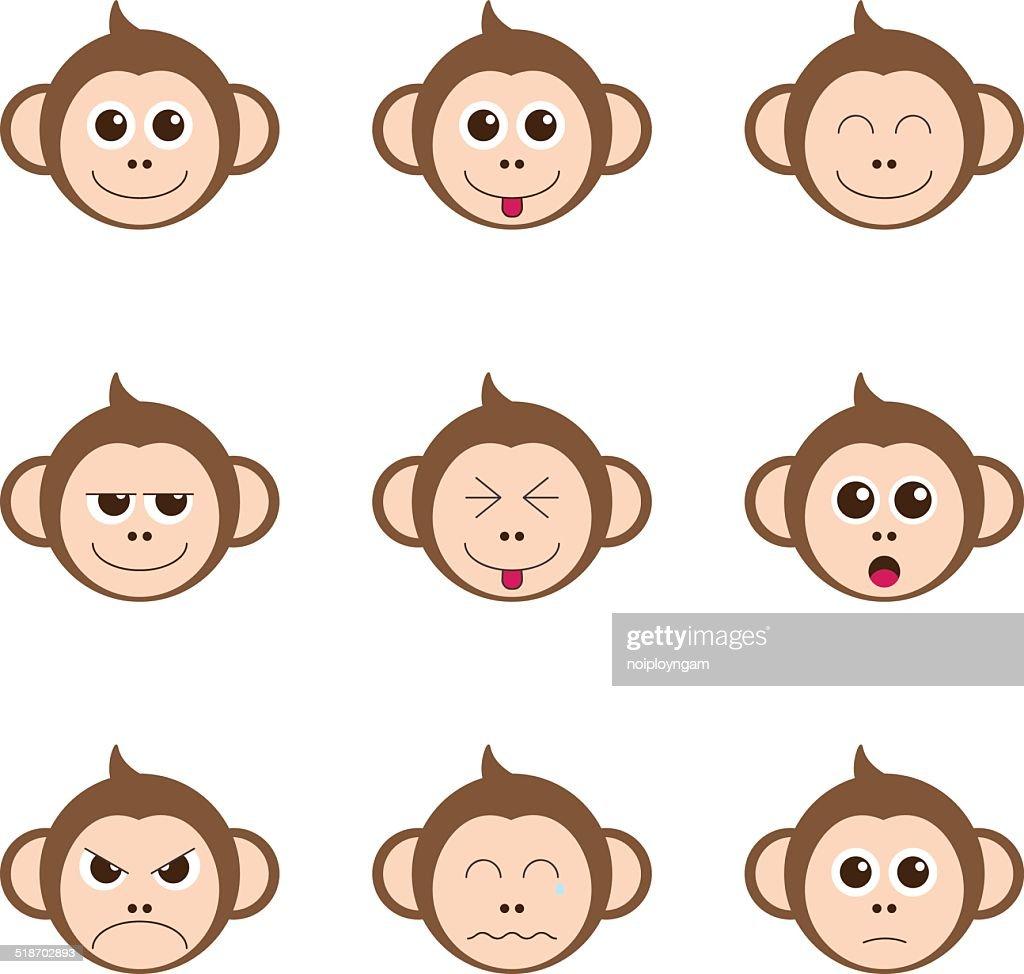 monkey emotion faces icon set vector